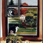 Cat in the window pin / picture frame